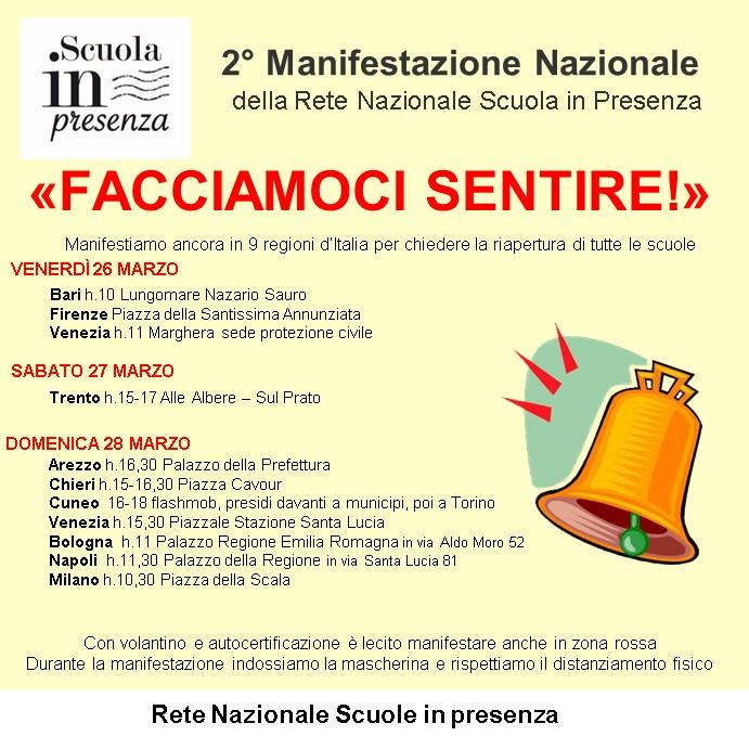 Locandina della manifestazioni della Rete Nazionale Scuola in presenza dei giorni 26-27 e 28 Marzo