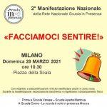 Locandina 2° Manifestazione Rete Nazionale Scuola in presenza Milano
