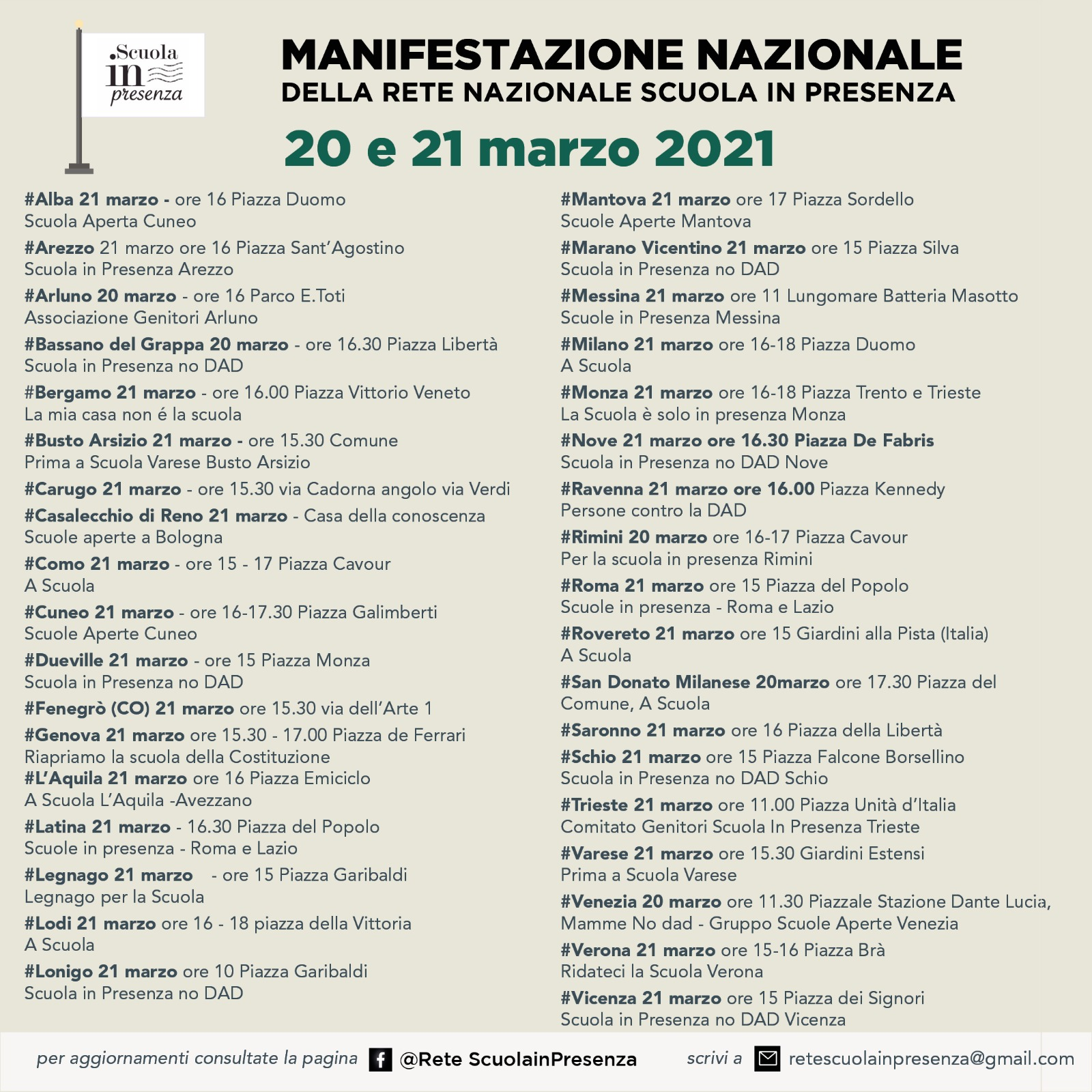 Manifestazione Nazionale 20-21 Marzo Rete Nazionale Scuola in Presenza